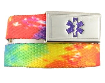 Kids Medical Bracelet TieDye Nylon Webbing with Stainless Steel Medical Tag