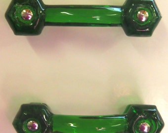 2 Drawer Pulls Glass Handles Emerald Green Trim Project Toppers Set of 2