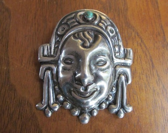 Mexican Silver Pin 1940s PreColumbian Design