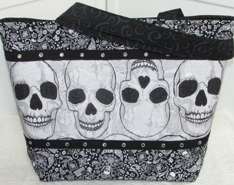 Baroque Punk Skull Large Tote Bag in Black and White Gothic Skulls Purse Ready To Ship