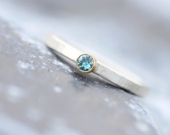 Simple Modern Engagement Ring Ice Blue Zircon Silver 14K Gold Yellow Small Faceted Genuine Gemstone Bridal Band White Sunshine - Eispunkt