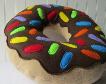"16"" Rainbow Chocolate Frosted Doughnut Pillow"