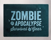 "Zombie Apocalypse Survival Gear - Essentials Tote Bag - Natural Canvas Bag - Blue Image Transfer - Handbag Tote -More info in ""Item Details"""