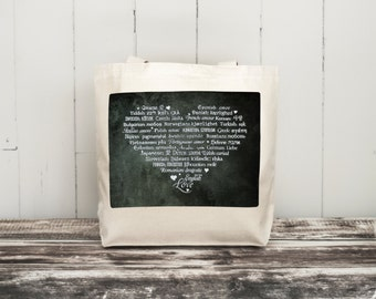 LOVE Languages Tote Bag - Canvas Bag - Carryall Tote - Enchanted Forest - Enchanted Collection