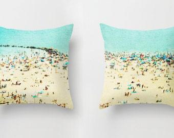 Throw Pillows Set, Turquoise Throw Pillows - Coney Island Beach, Beach Hut Decor, Beach Pillow, Turquoise Pillows, Teal Pillows SET OF TWO