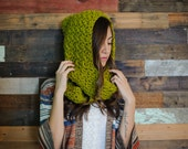 Hooded scarf, chunky scarf, yellow scarf, yellow hooded scarf, winter, scoodie, yellow, lime green, spring