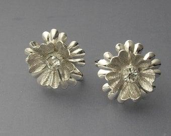 Sterling Silver Rhinestone Earrings, Silver Flower Earrings, Sterling Silver Earrings, Star Art Earrings, Sterling Earrings, Bridal Earrings