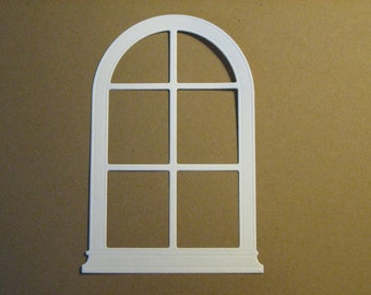 6 Arched Window Die Cuts: White Stamping supplies Handmade card