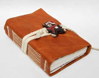 Santa Bear - Handmade Leather Journal Notebook Scrapbook Blank Book