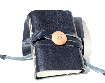 Navy Blue Leather Journal Notebook