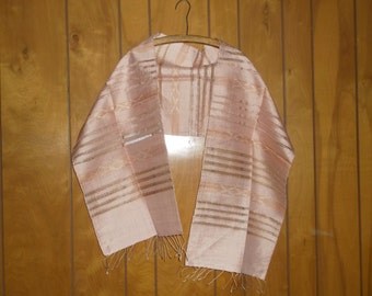 Vintage Drawn Thread Fringed Shoulder Wrap / Neck Scarf • southwestern design • 70 inches Long