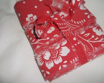 Hand Torn Vintage Ribbon • faded red & white • 12 yards X 1 inch