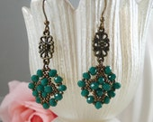Earrings Woven Teal and Antiqued Bronze