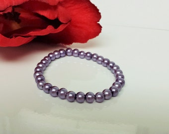 Dark Lavender 6mm Glass Pearl Bracelet for Bridesmaid, Flower Girl or Prom