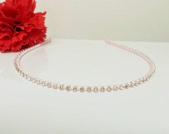 Blush Pink Satin Ribbon Enhanced Rhinestone Bridal Headband for Bridesmaid, Prom, Flower Girl or Wedding Party