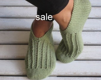 SALE, Handknitted Slippers, Wool Slippers, Olive Green, Slippers, Autumn Gift, Was 35, Now 29.90
