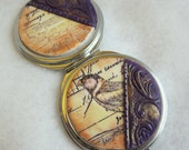 Art Nouveau Compact Mirror Sheet Music and Bird Design