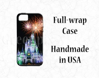 Disney fireworks full wrap cell phone case, Christmas holiday lights, iPhone 7, 6 Plus, 5C, Galaxy S4 S5 S6, Magic Kingdom Cinderella Castle