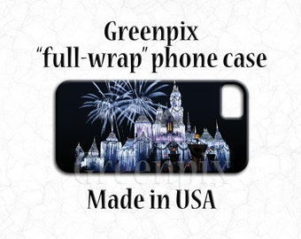 Disney iPhone 7 Plus cover, Disneyland Sleeping Beauty castle, princess phone case, Christmas fireworks, Galaxy S5 S6 S7, iPhone 6, greenpix