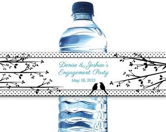 10 Waterproof Peel & Stick Water Bottle Labels, Love Birds on a Branch, Wedding, Bridal Shower, Engagement or Rehearsal Dinner, Birthday