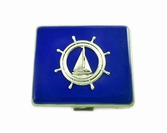 Ship Wheel Large 8 day Pill Box Inlaid in Hand Painted Enamel Cobalt Blue Opaque Enamel Nautical Inspired Custom Colors and Personalized