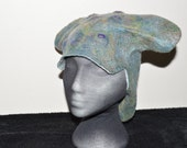 Wet felted hat in blues, greens, purple merino wool, very cool snow hat and totally warm too
