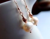 rose gold pearl drop earrings, large freshwater ivory pearls, rose gold vermeil french hook earrings
