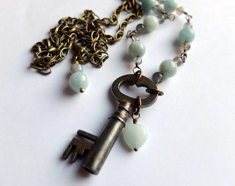 vintage skeleton key necklace with amazonite, labradorite, long brass necklace, unique, ooak