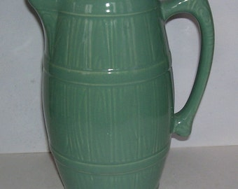 Sylvan Green Pottery Pouring Pitcher, 8 1/4 inches High, Staffordshire Potteries, England Earthenwares,Pitcher, English Cottage, serving