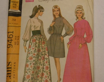 Vintage McCall's 1960s Chiffon  Maxi or Short Dress pattern 9461 Bust 36-38