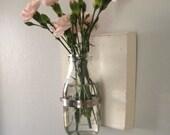 Wall Vase - Shabby Chic Flower Holder- Wall Sconce-Shabby Wall Vase-Dairy Glass Vase- Rustic Chic Decor