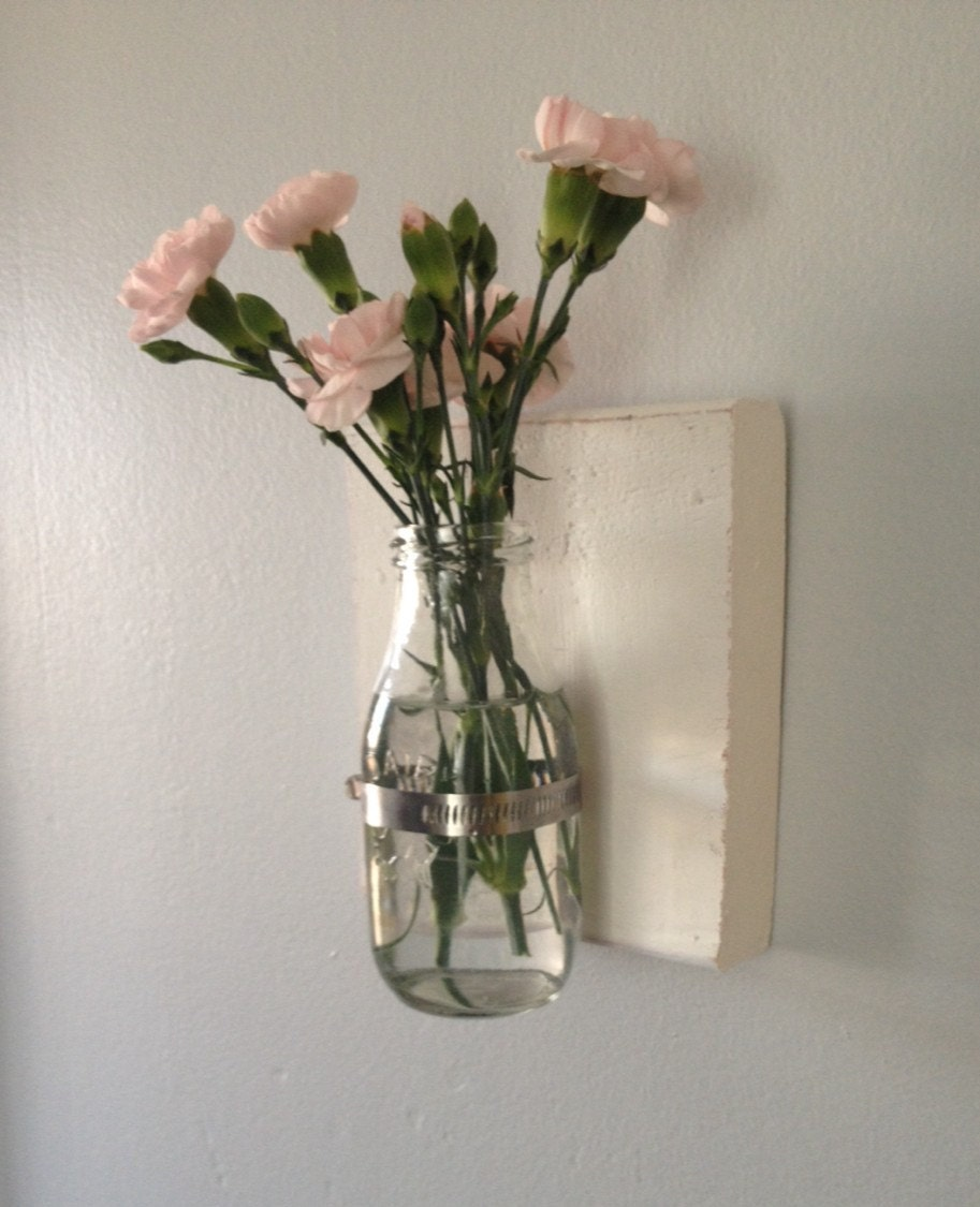 Wall Vase Shabby Chic Flower Holder Wall Sconce-Shabby Wall