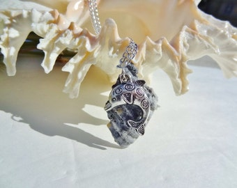 Custom Choose Your own Length Mother of fossilized Seashell and Whale Necklace by jessentials