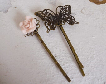 Brass Butterfly and pale pink Rose Bobby pins Hair pins
