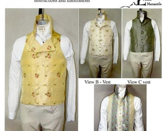 Men's Late Georgian Vest 1795-1817 Size 34-56 Laughing Moon Costume Pattern 125