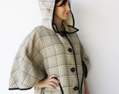 Vintage Cream and Coal Square Button-Up Hooded Cape / Size M L XL