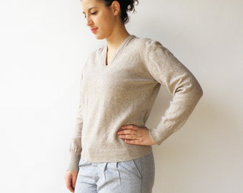 Vintage Boyfriend Sweater / Sand Wool Sweater