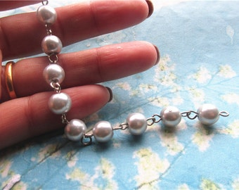 1pcs 20 inch 8mm silver glass pearl beads/ball necklace chain--silver links