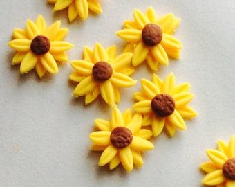 edible sugar sunflowers, gumpaste flowers, sugar flowers for cakes, sugar flowers for cupcakes, wedding flowers, fondant sunflowers