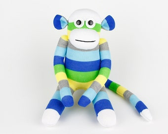 Boys Christmas Gift Handmade Original Sock Monkey Stuffed Animal Doll Baby Toys