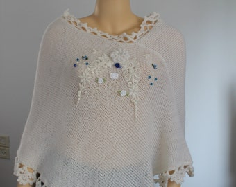 White Knit  Crochet Bridal Cape Poncho Shawl- Wedding Shrug - Winter Accessories - OOAK - Luxury