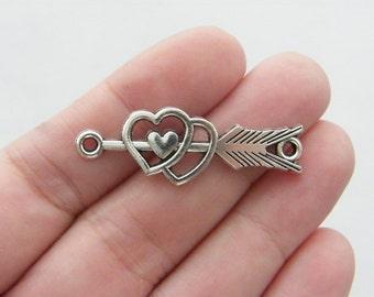 8 Arrow heart connector charms antique silver tone G41