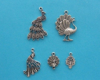 The Peacock Collection - 5 different antique silver tone charms