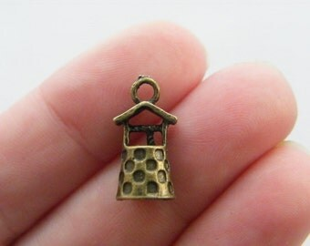 8 Well charms antique bronze tone BC19