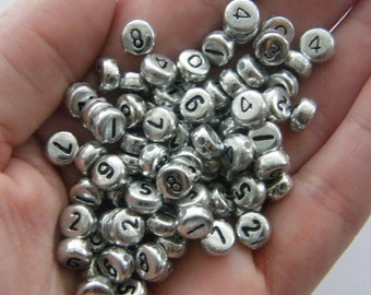 BULK 500 Acrylic round silver number 7mm beads AB10