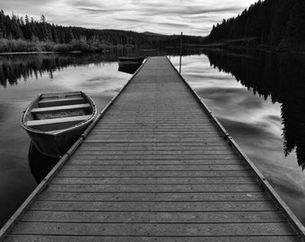 Peaceful Afternoon at Clear Lake black and white fine art photography, wall decor, waterscape, nature print, reflective water, cloudy sky