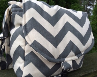 Camera Bag-cross body grey chevron