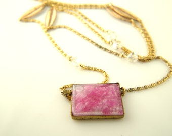 Pink Carved Glass Necklace - Opera Length - Czech - Vintage