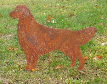 Golden Retriever Garden Stake or Wall Art, Memorial, Garden, Art, Dog, Memorial, Memorial, Lawn, Ornament, Metal, Rust, Hanging, Outdoor