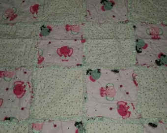 Pink Elephants Rag Quilt Baby Blanket
